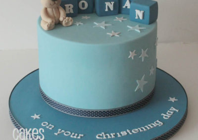 Bear & Blocks Christening Cake