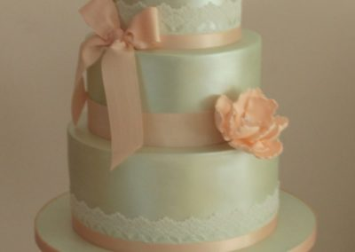Mint Green Lustre, Gold Sequins, Handmade Peach Peonies