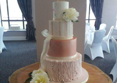 Vertical Ruffle, Rose Gold Lustre, Stripes & Handpainted Floral Detail