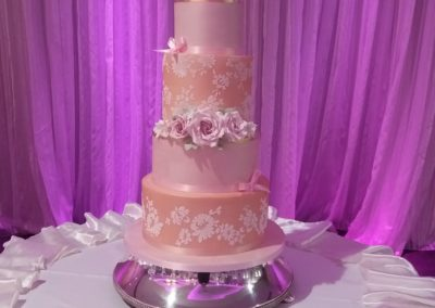 Peach and Pink 6 Tier, Gold Leaf, Alecon Lace, Handmade Sugar Roses