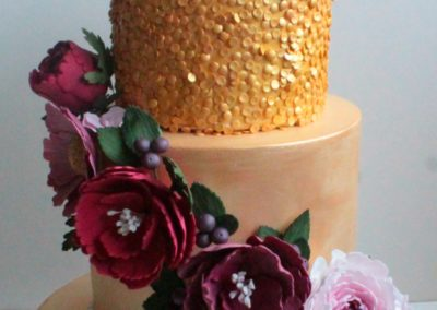 Assortment of Handmade Sugar Peonies, Gold Sequins & Gold Lustre Tiers