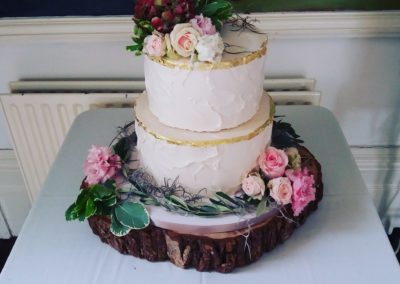 Light Pink Buttercream with Gold Leaf