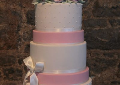 Three tier Swiss Dots, Pink Spaces, Full Floral Sugar Flower Topper
