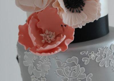 Alecon Stencil over Silver Lustre, Assortment of Handmade Sugar Flowers