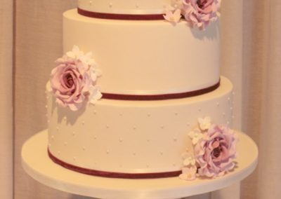Large Three Tier Swiss Dots & Handmade Sugar Roses