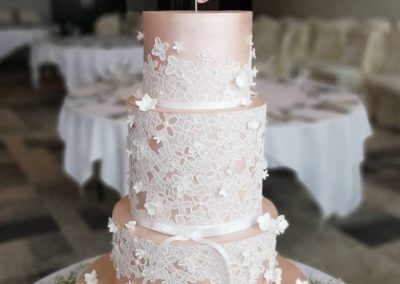 Pink lustre, cake lace, white blossoms Kinsale Hotel